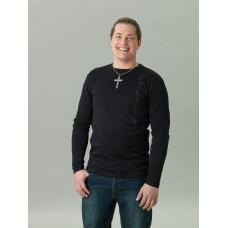 Långärmad T-shirt herr, svart med ton-i-ton-tryck