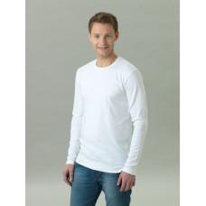 Långärmad T-shirt herr, vit med ton-i-ton-tryck